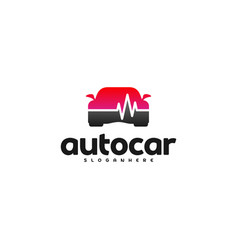 Car pulse logo template car repair logo design vector