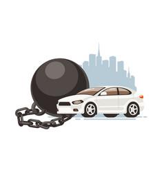 car restriction prison ball vector image