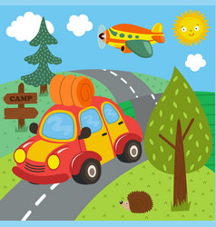 car trip for outdoor recreation vector image