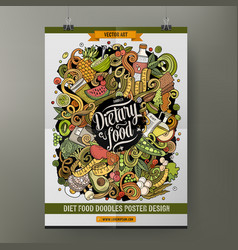 cartoon hand drawn doodles diet food poster design vector image