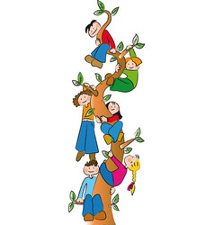 Children on the tree vector
