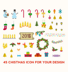 christmas pixel icons set vector image