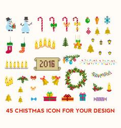 Christmas pixel icons set vector