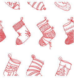 christmas red socks stylized stockings set of vector image