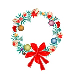 Christmas Wreath with Christmas Ornaments and Bow vector