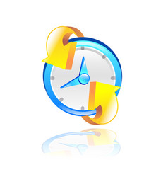 clock with yellow arrow 3d vector image