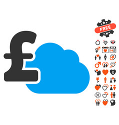 Cloud pound banking icon with lovely bonus vector