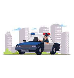 Cop patrolling street flat vector