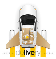 delivery car with cardboard wings vector image