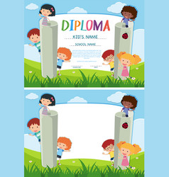 Diploma and background template with kids in the vector