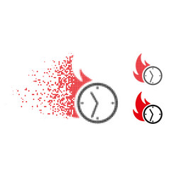 Dispersed dot halftone deadline burn clock icon vector