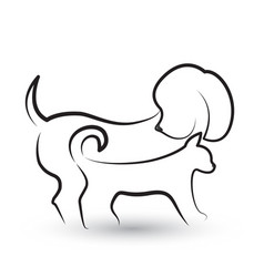 Dog and cat line art logo vector