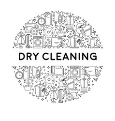 Dry cleaning or laundry service line icons on vector