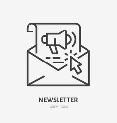 E-mail newsletter flat line icon copywriting vector
