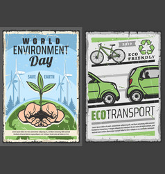Eco transport and world environment protection day vector