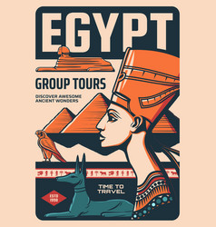 Egypt group tours retro poster egyptian culture vector