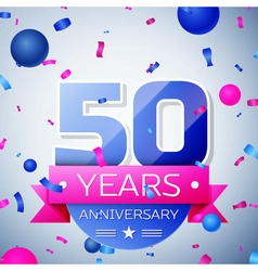 Fifty years anniversary celebration on grey vector image