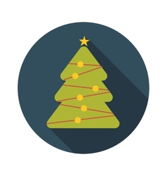 Flat Design Concept Christmas Tree With Long vector image