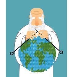 God making earth knitting world establishment of vector