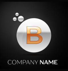 gold letter b logo silver dots splash and bubble vector image