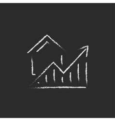 Graph of real estate prices growth icon drawn in vector