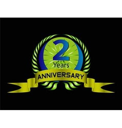 Green vintage anniversary message emblem 2 years vector