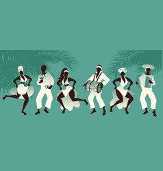 Group of men and women dancing and playing latin vector