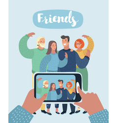 group of three friends taking a selfie vector image