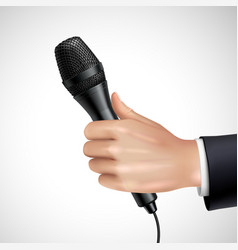 Hand With Microphone Realistic Detail Poster vector image