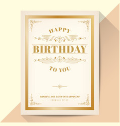 Happy birthday card elegant vintage gold frame vector