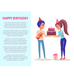happy birthday greeting card male with gift box vector image