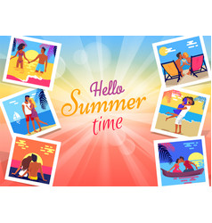 hello summer time banner with photos of couple vector image