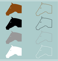 Horse head brown black grey white icon vector