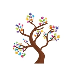 human hand tree gesture shape icon graphic vector image