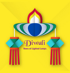 invitation card for diwali festival of hindu vector image