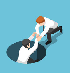 Isometric businessman help his friend climb up vector