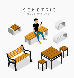 Isometric wooden bench collection vector