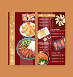 Japanese sushi design with food watercolor vector