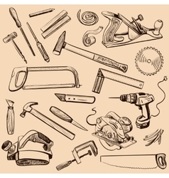Joinery icons set Carpenter character at work vector