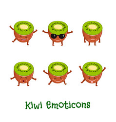 Kiwi smiles cute cartoon emoticons emoji icons vector