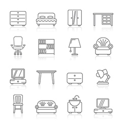 Line furniture and home equipment icons vector image