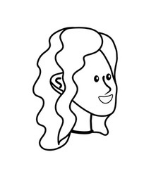 line happy cute woman face with hairstyle vector image