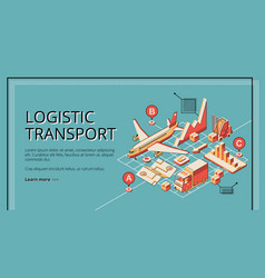 Logistic transport isometric web banner vector
