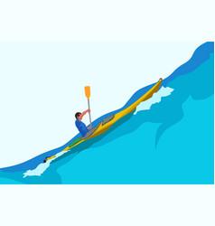 man in kayak big wave vector image