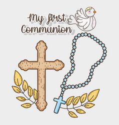 My first communion with rosary cross and dove vector