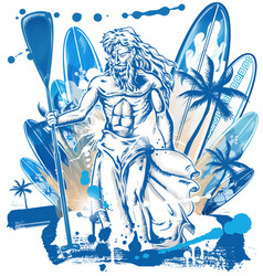 Neptune surfer on surfboard background vector