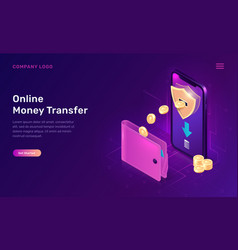 online money transfer or cash back isometric vector image