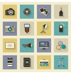 Photo equipment flat icons set with shadows vector image