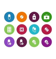 Pills medication circle icons on white background vector