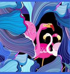 pink flamingos and abstraction vector image